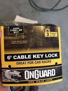 6' cable key lock for car rack with light up