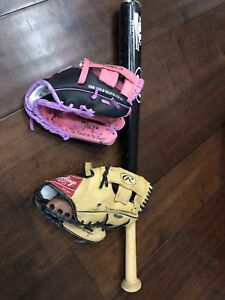 """Rawling 9""""boys and girls glove and tball bat"""