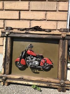 Motorcycle wooden picture frame