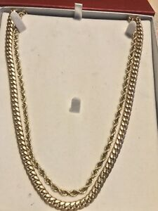 10k gold chains Cuban and rope