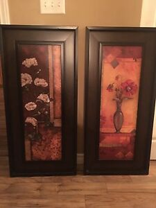 2 Dark Brown Floral Print Paintings REDUCED!!!!