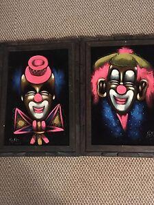 Vintage clown paintings.