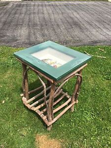 Awesome rustic fishing lure sofa side table
