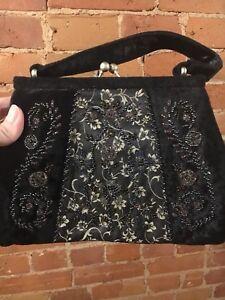 Vintage black velvet beaded evening bag