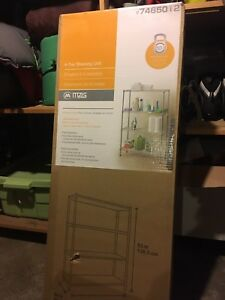 Unopened metal shelving unit from Home Depot