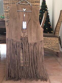 Suede tasseled waistcoat