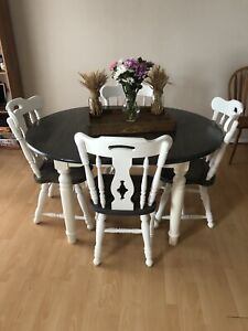 Rustic farmhouse table and chair set