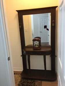 Wood console table with mirror