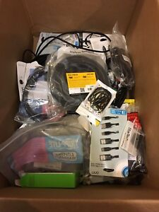 Box filled with electronic cables