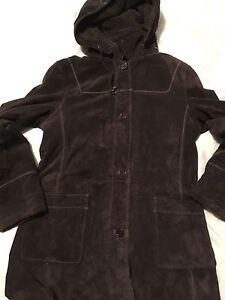 Suede leather jacket peacoat Med