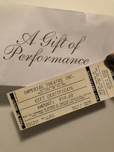 $50 Imperial Theatre Gift Certificate