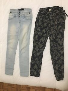HIGH-WAISTED BLUE SKINNY JEANS AND ARMY/CAMO PANTS