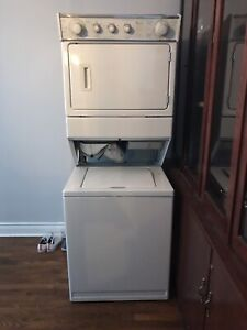 """Whirlpool """"thin twin"""" stackable washer and dryer."""