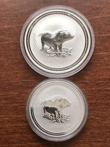 """2007 Perth mint serie I-1 &2 oz silver coins-""""Year of the Pig"""""""