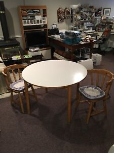 Solid Wood Kitchen Table and Two Chairs