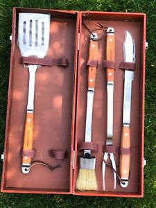 Williams Sonoma rosewood handled Grill Set with storage box