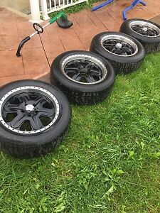 18 INCH AMERICAN RACING BLACK RIMS WITH TIRES - 245/60R18 -5x120