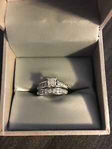 14k white gold diamond engagement ring wedding band set