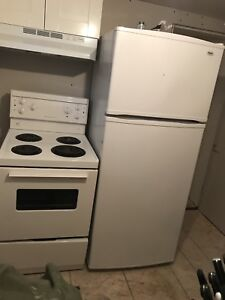 Apartment style fridge and stove