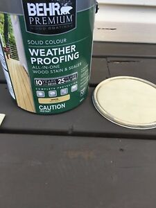 BEHR weather proofing wood stain colour (light lichen)