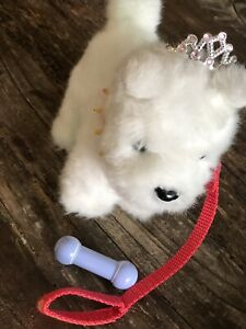 American girl pet puppy with leash and tiara