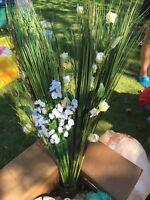 Artificial flowers and sea grass