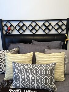Pottery barn leather tufted metal bed (queen)