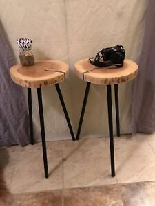 Ash wood tall side tables with epoxy fill