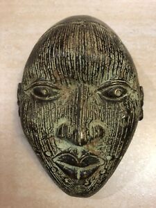 AFRICAN BRONZE MASK FROM THE IFE KINGDOM 7.5''- Nigeria