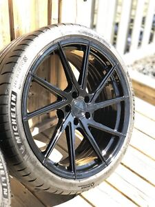 "Black 20"" Stance Wheels 5x112 Michelin Tires Audi A3/S3/A4/S4/A6"