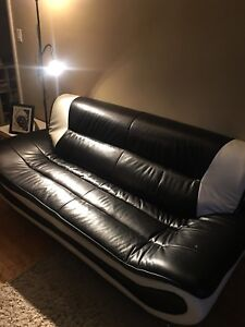 3 piece black & white couches