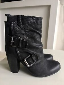 Leather Mid Ankle Calf Chunk Heel Booty with Buckles