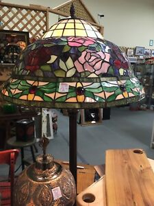 Large antique stained glass floor lamp- just reduced!