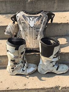 Size 11 Dirt Bike Boots and Chest Protector