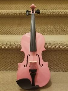 Pink and brown 1/8 size violin