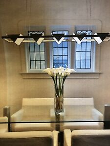 Metal and glass dining chandelier