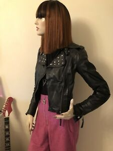 Studded Leather Stylish Biker Jacket