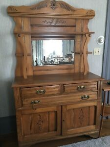 Antique sideboard buffet with mirror