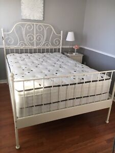 IKEA LEIRVIK  double/full bed frame, mattress and boxspring