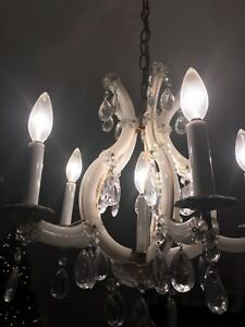 Vintage Italian brass and milk glass chandelier