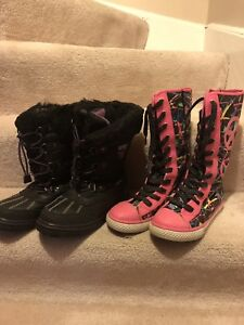 Girls Shoes (Snow boots and sneakers) size 5-6 youth- $15