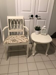 Solid wood refinished chair and tables