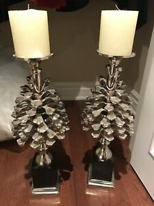 Stainless steel designer pine cone candleholders