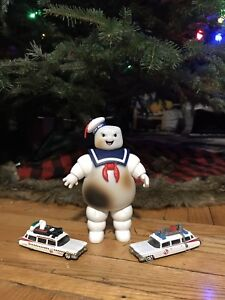 Ghostbusters stay Puft man with hotwheels ecto-1 a & ecto-2