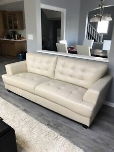 3-Piece Off-White Leather Couch, Loveseat, Chair - 5 Months Old