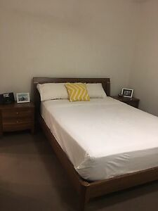 Timber Queen bed frame, mattress and two side tables. Ascot Brisbane North East Preview