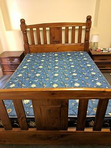 Solid Wooden Queen size bed Frame and mattress Royal Park Charles Sturt Area Preview