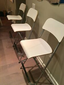 Three (3) IKEA White and Gray Folding Chairs