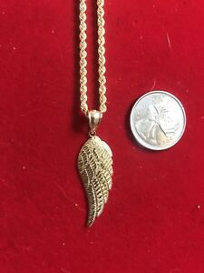 Wing pendant and rope chain 10k yellow gold