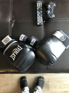 Everlast boxing gloves and wraps